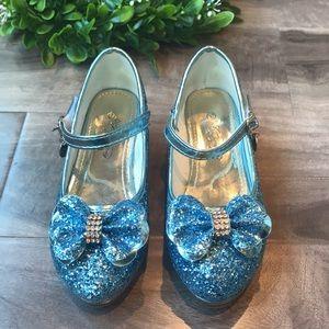 """FANCY blue glitter """"high heel"""" princess shoes - NEW"""